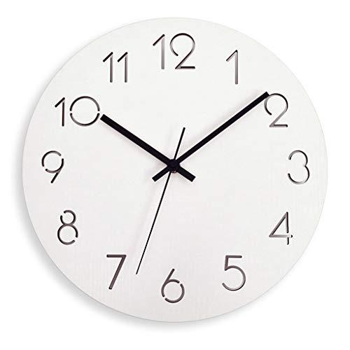 壁掛け時計ヨーロッパのミニマルクリエイティブウォールクロックファッション木製リビングベッドルームサイレント時計ウォールアートデコレーションウォールデコレーション Watches (Color : Brown, Size : 38.5*38.5cm)