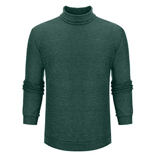 Yowablo Pullover Herren Stehkragen Reine Farbe Modisch Komfortabel Groß Langarm Top (S,Grün)