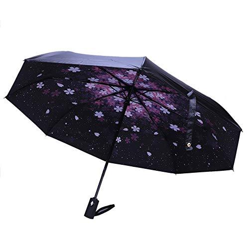 FJROnline Paraguas Plegable automático, toldo Doble de 8 Varillas, Resistente, Compacto, protección UV, Paraguas Plegable para Actividades al Aire Libre Negro a 32 * 5CM