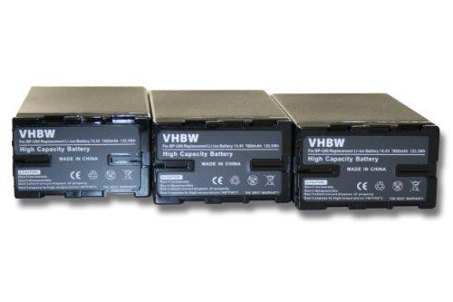 Set x3 baterias vhbw 7800mAh con Infochip para videocámara Sony PMW-EX1 PMW-EX3...