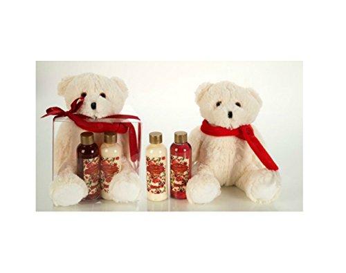 zz Badeset MEMORIES in PVC-Geschenkbox, inkl. 110ml Duschgel, 110ml Bodylotion, Plüschbär (20cm, sitzend), Duft: Pinie, Farbe: rot/creme