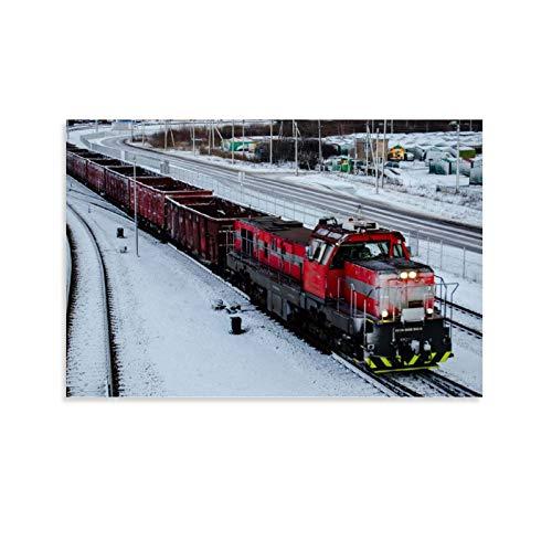 ZUNZUN Cargo Train Leinwand Kunst Poster und Wandkunst Bilddruck Moderne Familienzimmer Dekor Poster 24x36inch(60x90cm)