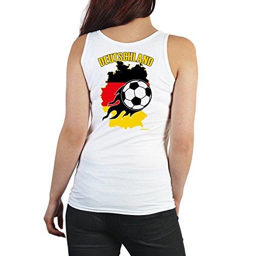 Frauenfussball Fan Tank Top Damen bedruckt - mit Rückendruck Bundesliga Frauen Fussball Motiv Deutschlandkarte Fußball Gr. L in weiss : )