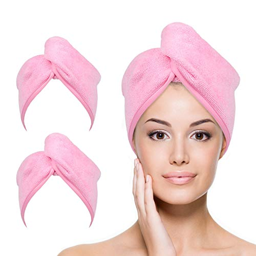 YoulerTex Microfiber Hair Towel Wrap for Women, 2 Pack 10 inch X 26 inch, Super Absorbent Quick Dry Hair Turban for Drying Curly, Long & Thick Hair (Pink)