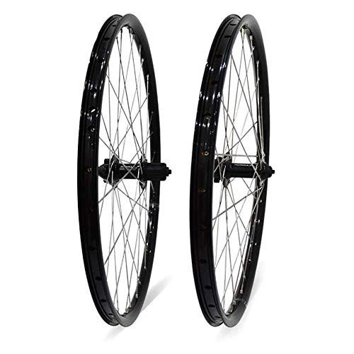 TYXTYX Bicicleta Rueda de Bicicleta Juego de Ruedas de 26'MTB Llanta de aleación de Doble Pared Freno de Disco 7-11 Velocidad Buje de rodamiento Palin Liberación rápida 6 Colores, Negro