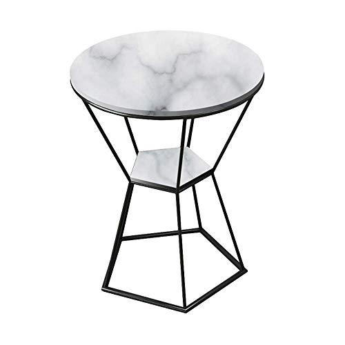 GAOLIM Table d'appoint Ronde en marbre + Cadre en Fer forgé Table Basse Salon Canapé Table Table d'angle Balcon Table à thé, 19,6\