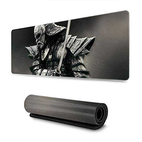 Samurai Gaming Mouse Pad XL, Non Slip Rubber Base Mousepad, Stitched Edges Desk Pad, Extended Large Mice Pad,31.5 X 11.8 Inch