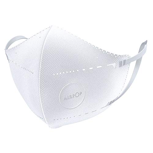 Airpop Pocket Reusable Face Mask, 4-Layer Filter Face Coverings, Contoured Fit, Folding Adjustable Face Mask, Adult Face Masks for Protection, 2 Pack - White