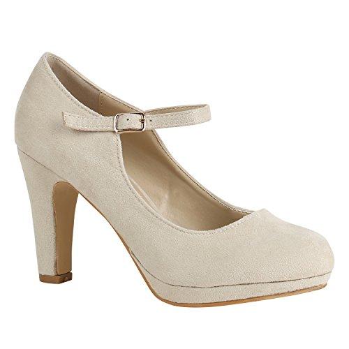 Damen Schuhe Pumps T-Strap High Heels Riemchenpumps Stilettos 157208 Nude Berkley 39 Flandell