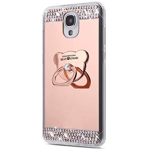 Surakey Cover Compatibile con Samsung Galaxy S4, Specchio Silicone Morbido Cover con Anello Supporto Bling Strass Glitter Diamante Lusso Mirror Case Ultra Sottile Protettiva Custodia,Orso Oro Rosa