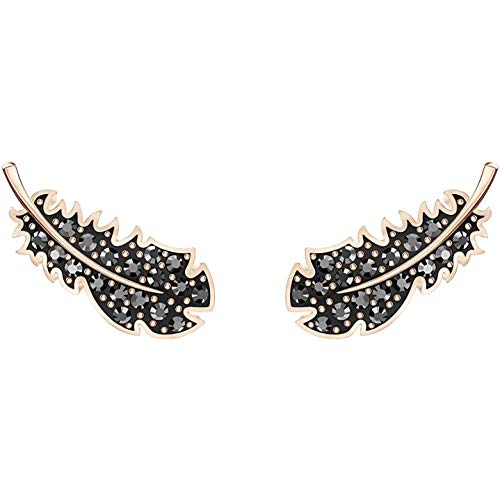 Swarovski Women's Naughty Collection Pierced Earrings, Set of Brilliant Black Swarovski Feather Stud Earrings with Rose-gold Tone Plating