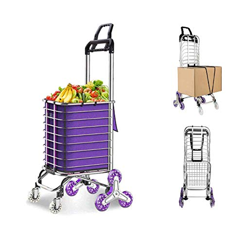 JAUREE Grocery Cart, Folding Shopping Cart for Groceries, Upgraded Utility Cart with Rugged Aluminum Frame Lightweight Stair Climbing Shopping Trolley with Removable Waterproof Oxford Bag