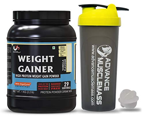 Strava AdvanceMuscleMass Weight Gainer with Enzyme Blend | 5.1 G Protein | 25.3 G Carbs | Lab tested | Made from Whey Protein only | Raw Whey from USA | With Shaker | Vanilla Flavour | 1 Kg / 2.2 lb