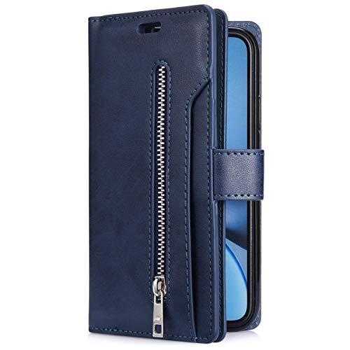 Uposao Kompatibel mit Samsung Galaxy A41 Hülle Leder Flip Schutzhülle Multifunktional Reißverschluss 9 Kartenfächer Handyhülle Brieftasche Wallet Case Handytasche Magnetisch,Dunkelblau