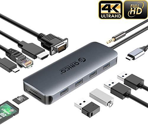 ORICO USB C Hub, Laptop Dockingstation mit Dual Display, 11-in-1 Typ C Dongle Adapter mit 100 W PD3.0, 4K HDMI, VGA, RJ45, SD/TF Kartenleser, 4 USB Anschlüsse, Audio für MacBook, Dell XPS, Windows