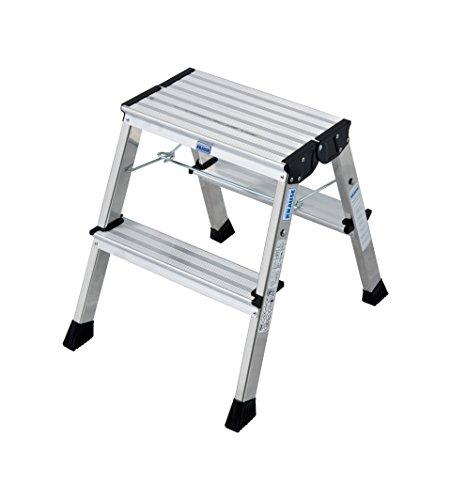 Krause 130037 Klapptritt 2 x 2 Stufen Aluminium, mit Roll-Stop-Automatik