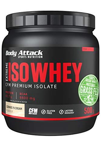 Body Attack Extreme Iso Whey, CFM Aislado de proteína de suero de leche de sauce irlandés 100%, sin gluten, rico en AEA, bajo en grasas, 90,6% de contenido de aislado (cookies n cream, 500g)