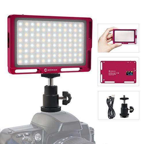 Moman Luz LED Cámara, Fillipo Foco Antorcha LED Luz Bi-Color 3000K- 6500K Ajustable Led Reflex Foco Fotografia, TLCI/CRI 95+, Ultra Ligero de 147g, Cable Tipo-C y Bolsa Incluidas, Color Rojo