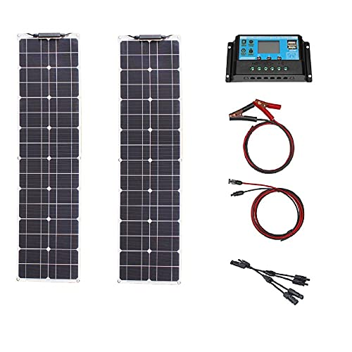 Kit de panel solar monocristalino, 16V 100W, panel solar flexible, utilizado para la supervivencia del desierto, caravanas, botes, furgonetas, triciclos, tiendas en la azotea potencia-12V 50W × 2