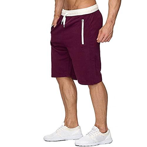 Davicher Pantalones Cortos para Hombre Cortos de Algodón Shorts Deportivos con Bolsillos Pantalón Cortos para Entrenamiento Fitness Casual Pantalones