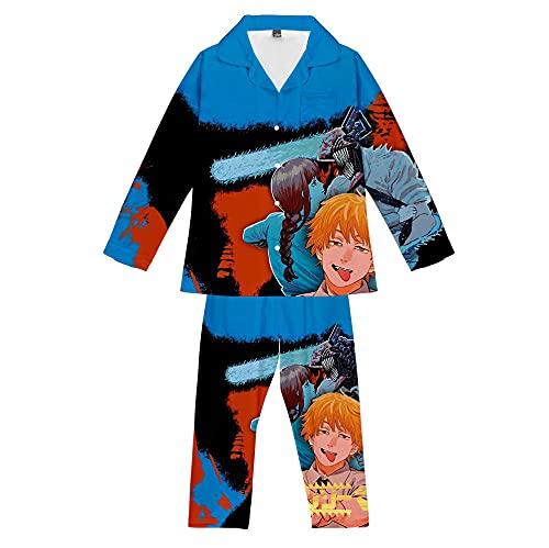 Conjunto de Pijama Motosierra Hombre Dibujos Animados Hombre Mujer Manga Larga Pijama 2 Piezas Suave 3D Cómodo Homewear