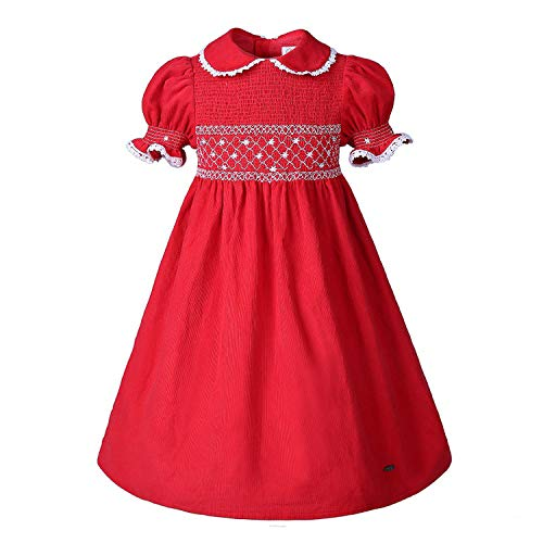 Red Short Sleeves Doll Collar Smocked Dresses for Toddlers Girl Party, 5