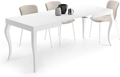 MOBILI FIVER, Table Extensible Classico, Blanc Mat, 120 x 80 x 76 cm, Mélaminé, Made in Italy