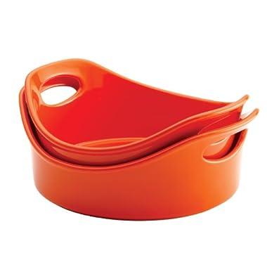 Rachael Ray Stoneware 2-Piece Bubble & Brown Round Baker Set, Orange