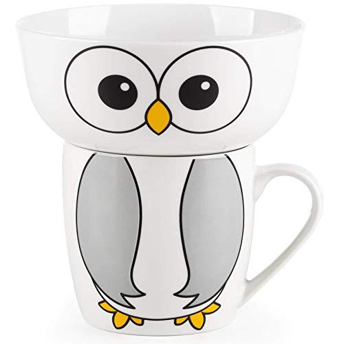 ROSMARINO Service Petit déjeuner en Porcelaine pour Enfants - Service de Petit déjeuner Haut de Gamme pour Enfants avec des Motifs d'animaux à la Mode - 2 pièces : Bol à céreales + mug (Hibou)