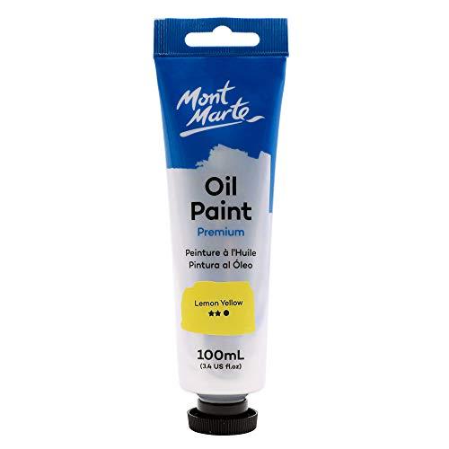 Mont Marte Premium Oil Paint, 3.4oz (100ml), Lemon Yellow, Good Coverage, Excellent Tinting Strength
