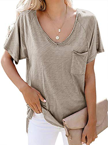 Womens Short Sleeve T Shirt Basic Tee Tops V Neck Loose Summer Shirts with Pocket Side Split