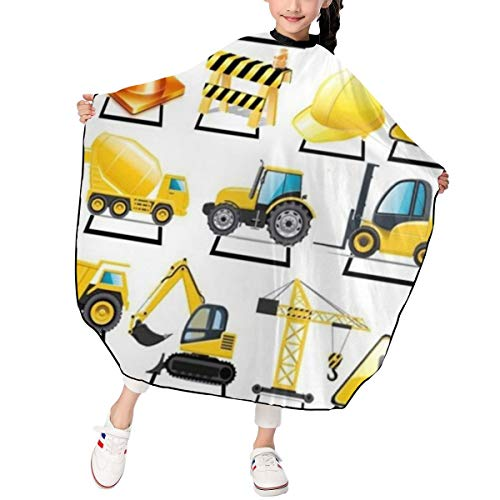Kids Haircut Apron,Construction Trucks Barber Cape Cover for Hair Cutting,Styling and Shampoo, for Boys and Girls