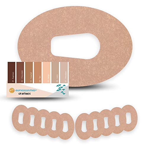 ExpressionMed - Skin Tones Adhesive Patch - Choose from 7 Different Shades for Dexcom G6 (10-Pack) - Pre-Cut, Waterproof, Non-Fraying Tape (Dexcom G6, 05 - Beige)