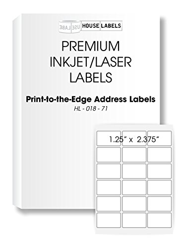 "HOUSELABELS 18 Up Address Labels (2-3/8"" x 1-1/4"") for Laser and Inkjet Printers, 200 Sheets / 3,600 Labels"