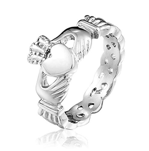 MiniJewelry Irish Claddagh Celtic Ring for Girls & Women Stainless Steel Ring for Eternity Wedding Band Stackable Promise Engagement Ring, Size 6