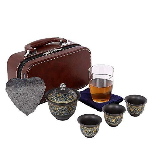 JY&WIN Keramische Teekanne, Reise-Teeservice, schnelle G & auml; stetasse, Haushaltsset, Geschenk, tragbar-Universalblume