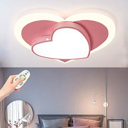 LED Kinder Deckenlampe Moderne Kreative Liebe Babyzimmer Deckenleuchte Wohnzimmer Mit Fernbedienung Deckenlicht Beleuchtung Schlafzimmer Wohnzimmer Kinderzimmer Dekoration Kronleuchter,Rosa,50cm