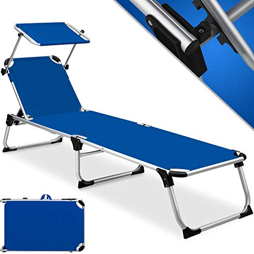KESSER® Sonnenliege Sun mit Dach Gartenliege klappbar Liegestuhl Sonnendach 4-stufig Verstellbarer Rückenlehne, ergonomisch, Aluminium Liege Gartenstuhl Strandliege tragbar Freizeitliege, Blau