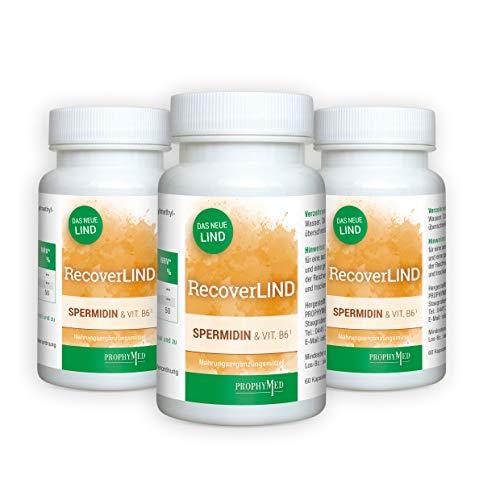 RecoverLIND Spermidin Kapseln hochdosiert (180 Kapseln) - unterstützt die normale Funktion des Immunsystems, Kur mit Vitamin B6, Putrescin & Spermin, sorgt für eine Immunantwort im Bedarfsfall,vegan