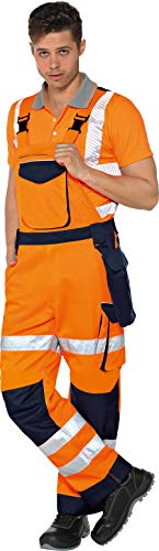 Vizwell Warnschutz-Latzhose Warnlatzhose Signal + Gratis-Werkzeugtasche Orange-Marine Gr.42-68/24-30/90-110 (54)