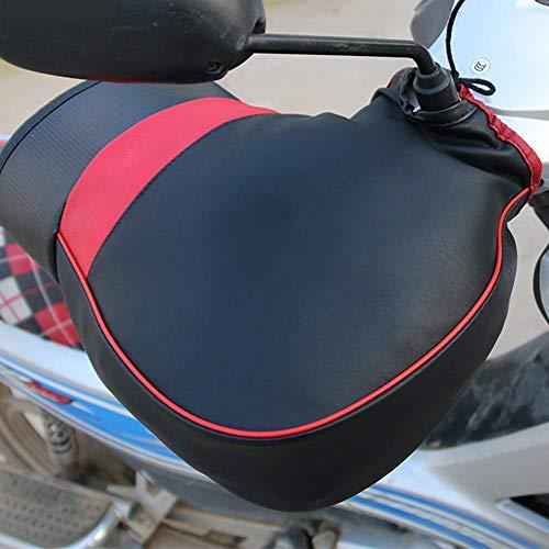 Winter Motorcycle Grip Handlebar Pu Leather Muff Warmer Thermal Cover Glove Pair Waterproof Cold-Proof Windproof Thick Motorcycle Handlebar Glove Windshield Gloves