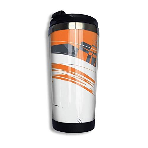 Hdadwy Taza de viaje personalizada gris naranja Vaso de café con revestimiento de acero inoxidable Vaso de viaje con aislamiento al vacío de doble pared para Navidad Cumpleaños Oficina en casa