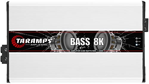 Taramps 900745 Class D BASS 8K 8000 Watt RMS 1 Ohm Automotive Sound Systems Mono Full Range Speaker Amplifier with Built In Thermal Protection