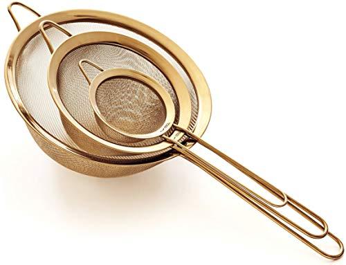 Hochwertiges Küchensieb Set, Feinmaschig - 8.5/14/20cm - Premium 304 Edelstahl - Langlebige Siebe in Goldener Farbe, Sieb Set für die Küche von Proto Future