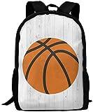 Mochila Escolar,Adult Carry Everyday Bookbag Mochilas de Viaje Laptop Laptop Bag Wood Basketball Sports Clipart Unisex Durable Casual Daypack for School Business