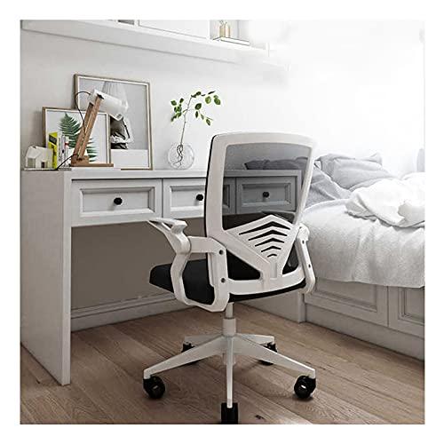 LINGZE Silla de Oficina ergonómica Silla giratoria Ajustable de Malla de Tela con Soporte Lumbar y reposabrazos, Color Blanco