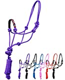 SIE Nylon Horse Braided Rope Halter Beaded Noseband Lead Rope (Purple)