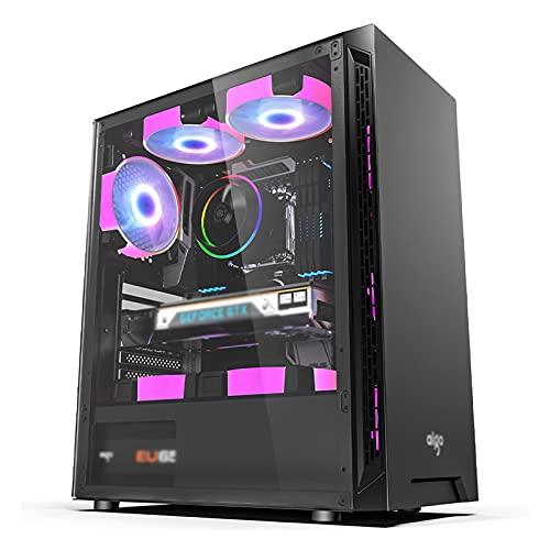 JF-TVQJ Caja Pc Gamer ATX PC Gaming Case, Mid Tower Desktop Computer Case USB3.0, con 1 X Panel De Vidrio Templado, Refrigeración por Agua, para Juegos Y Oficina