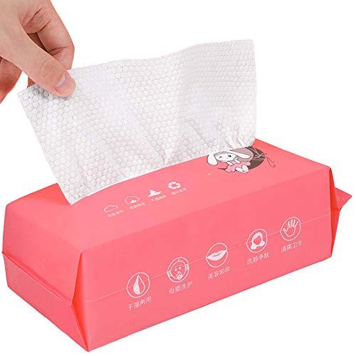 JGYJ Toalla de cara desechable desechable de limpieza para uso húmedo y seco, tejido de algodón facial para piel sensible, removedor de maquillaje, pañuelos suaves para bebé 80 piezas 01-0080