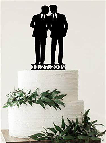 Mr en Mr Bruidstaart Topper, Groom en Groom Bruidstaart Topper, Zelfde Sex Cake Topper, Homo Cake Topper voor Bruiloft, Rustieke Bruidstopper